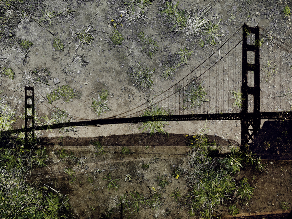 Tent-Camera-Image-on-Ground-View-of-the-Golden-Gate-Bridge-From-Battery-Yates