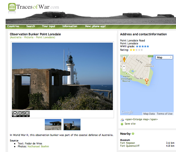 LINK: http://en.tracesofwar.com/article/15559/Observation-Bunker-Point-Lonsdale.htm