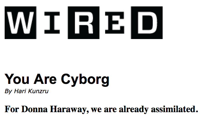 Kunzru, H, \'You Are Cyborg\' WIRED magazine – PLACE, FACE & CYBERSPACE